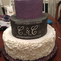 Chalk Board Wedding Cake Pound cake , buttercream icing covered with Satin Ice fondant