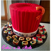 Chef's Hat And Sushi Cake Hibatchi themed birthday cake. Hat was all cake covered in fondant, sushi was made from RCT and candy, shrimp was sculpted out of modeling...