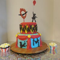 Circus Cake And Cup Cakes For a YMCA Jr Circus 5th anniversary performance. The YMCA of Macomb Illinois, teaches kids circus arts, like Silks, Trapeze, Stilts, Tight...
