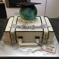 College Grad Cake For International Business   Suitcase cake with globe