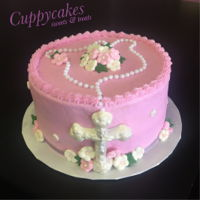 Communion Cake   Pink cross cake