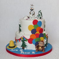 Curious George And Olaf Cake Frozen and Curious George themed cake for a joint birthday party