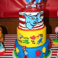 Dr. Suess Cake Suess cake buttercream with royal icing deco. Chocolate, red velvet and vanilla layers