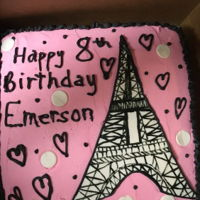 Eiffel Tower Birthday Cake Pink cake with fondant Eiffel tower