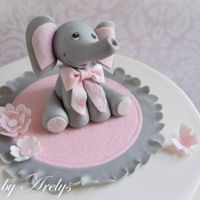 Elephant Baby Shower Cake Baby shower cake with gumpaste baby elephant topper