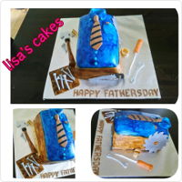 Fathers Day Cake Shirt, Tie and Tools, Homemade Vanilla Cake, Homemade Vanilla Swiss Buttercream. Covered in Fondant, Fondant tools, painted rugged.