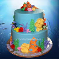 Finding Dory (Finding Nemo) Theme Birthday Cake. Buttercream Finding Dory (Finding Nemo) Theme Birthday Cake