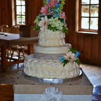 Floral Wedding Cake 3 tier butter pecan with cream cheese icing