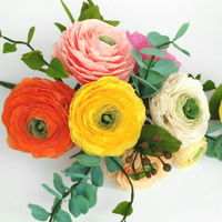 Free Formed Gum Paste Ranunculus   Ranunculus bouquet Gumpaste free formed flowers.No cutters or templates used to make it