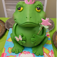 Frog Cake The birthday theme was Polly Wog Bog. Body is the cake and the head is made of KRT. The cake board is covered in fondant and then painted...