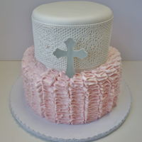 Girl's Baptism Cake With Lace Edible Lace using Claire Bowman. Sugar sheet cross. Buttercream ruffles.
