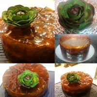 Glass Cheese Cake! A Banofee cheesecake in a caramel glass case.Decorated with sugar succulent flower:)