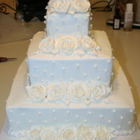 Gold Dusted White Rose Wedding Cake Buttercream