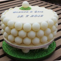Golf Cake And Cupcakes it was a wedding cake for a golf place owner. one for church and one for restistry Office. Also I made the Cupcakes for the wedding.