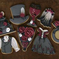 Gothic Rose Wedding Cookie Set peanut-butter NFSC, mostly chocolate RI, RI transfer roses and skulls set created for Cookie Connection inspiration challenge —...