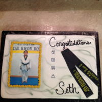Tae Kwon Do Graduating Cake This is a half sheet cake with an edible print, made the black belt out of fondant, I had his mom send me the wording that was actually on...