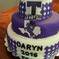Graduation Cake   italian cream, strawberry and chocolate cake... white and purple fondant