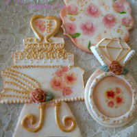 Hand Painted Wedding Cookie Toppers These are hand painted fondant cookie toppers with a wedding / bridal theme.
