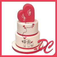 Heart Wedding Cake a special simple design for a romantic couple... two tiers, madeira cake filled with chantilly and strawberries...