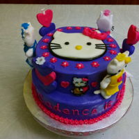 Hello Kitty For Cadence 2016 For my granddaughter. Strawberry cake with white ganache and vanilla buttercream. (Marshmallow Fondant Candle holders & topper.)