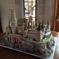 Hogwarts Castle   Hogwarts castle cake with most of the school with lights that glowed on and off in the towers.