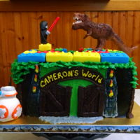 Jurassic World, Legos, & Star Wars For Cameron 2016 For my grandson. Chocolate cherry flavored cake with cherry preserves filling, chocolate ganache, and chocolate buttercream. (Modeling...