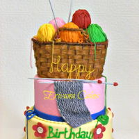 Knitting Themed Cake Knitting Themed Cake