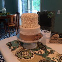 Kreyer Anniversary Anniversary Cake, First time to use sugar dress, spreadable lace. I also made the burlap roses.