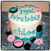 Makeup Birthday Cake Perfect cake for a teenager! All makeup is made from mmf with luster duster to give it a little sparkle!