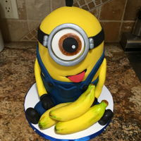 "Minion Four 6"" rounds & one 1/2 ball pan. Bananas are fondant covered RKT"