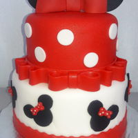 Minnie Mouse Theme Cake Birthday cake, with Minnie Mouse decoration in fondant.