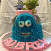 Monsters Inc Cake Botom tier Chocolate cake, top tier vanilla, covered in BCBoo/ Mike/ and sully face RKT covered w fondant/gumpaste