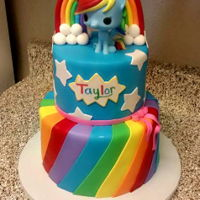 My Little Pony My Little pony birthday cake, top tier is a dummy tier, my first time working with one.