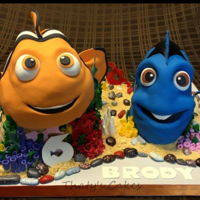 Nemo And Dory Nemo and Dory are all cake. Everything on the cake display is edible.