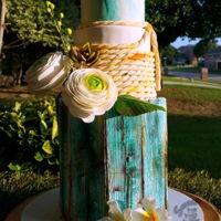 Old And Blue Rustic Wedding Cake