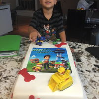 Paw Patrol Birthday Cake   Fondant with paw patrol toys and edible topperp