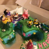 Peppa Pig And Friends 3rd birthday celebrationChocolate cake covered with fondantCustard fillingCharacters made with fondant and Rice Krispies Peppa pig,...