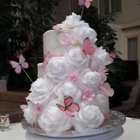 Pink Butterfly Wedding Cake White wafer paper roses with pink fantasy flowers and pink butterflies!
