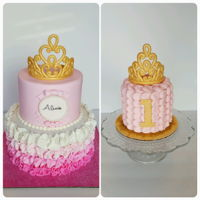 "Pink & Gold Princess Cake Take two! I got to recreate one of my favorite cakes. This time it was a 6"" & 8"". I used larger circles to make the ruffles...."