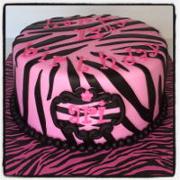 Pink Zebra Stripe Cake The inside also gad pink, black & white stripes!