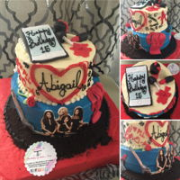 Pretty Little Liars RED VELVET CAKE WITH RASPBERRY AND CHOCOCHIPS FILLBUTTERCREAM COVER AND EDIBLE WAFER PAPER AND FONDANT.