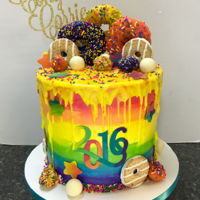 Rainbow Graduation Cake I love the customers are thinking outside the box from the traditional grad cakes. This customer loved bright colors and wanted a cake more...