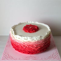 Red Ruffle Ombre Cake   Red ombre ruffle cake for a grandmother whose favorite color was red! Love ruffles!