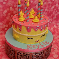 Shopkins Yellow Wishes Birthday Cake Shopkins Yellow Wishes Birthday Cake. Buttercream iced with fondant accents.