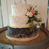 "Simple Wedding Cake The bride wanted something simple and the groom wanted a wood slab. The top cakes are Vanilla bean and the ""wood "" cake is..."