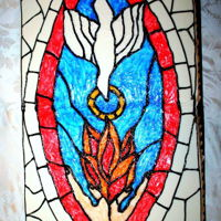 Stained Glass Confirmation Cake 16x32 buttercream with colored glaze