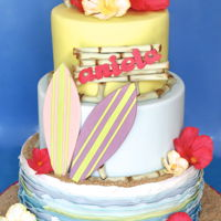 Surf's Up! A Hawaiian luau/birthday party calls for a bright, colorful beach theme cake.