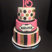 "Sweet 16 Pink Black And Gold Cake The design was given to me by the soon to be 16 year old. This is a 10"", 8"" and 6"" tiered cake. Mostly made with buttercream..."