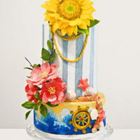 "Sweet Summer Wedding Cake  Wedding Cake Summer theme.This is my contribution for ""Sweet Summer Collaboration"" Freee formed sugar flowers on a hand painted..."