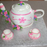 Time For Tea A teapot cake for my daughters bithday. Cups are edible, made from gumpaste.
